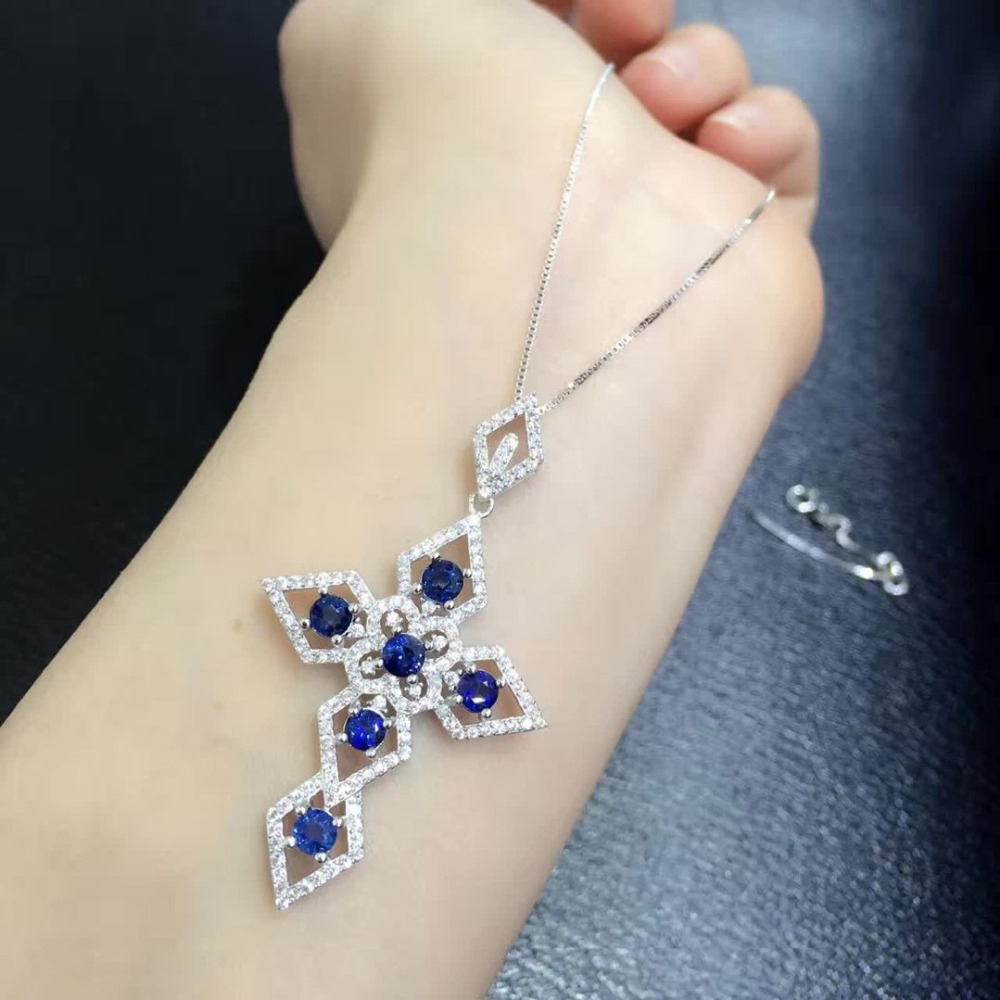 Collier Collares Qi Xuan_Dark Blue Stone Cross Pendant Necklace_Real Necklace_Quality Guaranteed_Manufacturer Directly Sales
