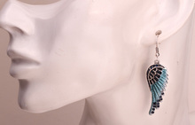 Angel wings dangle earrings antique gold silver plated W crystal women biker bling jewelry gifts wholesale dropshipping EC23