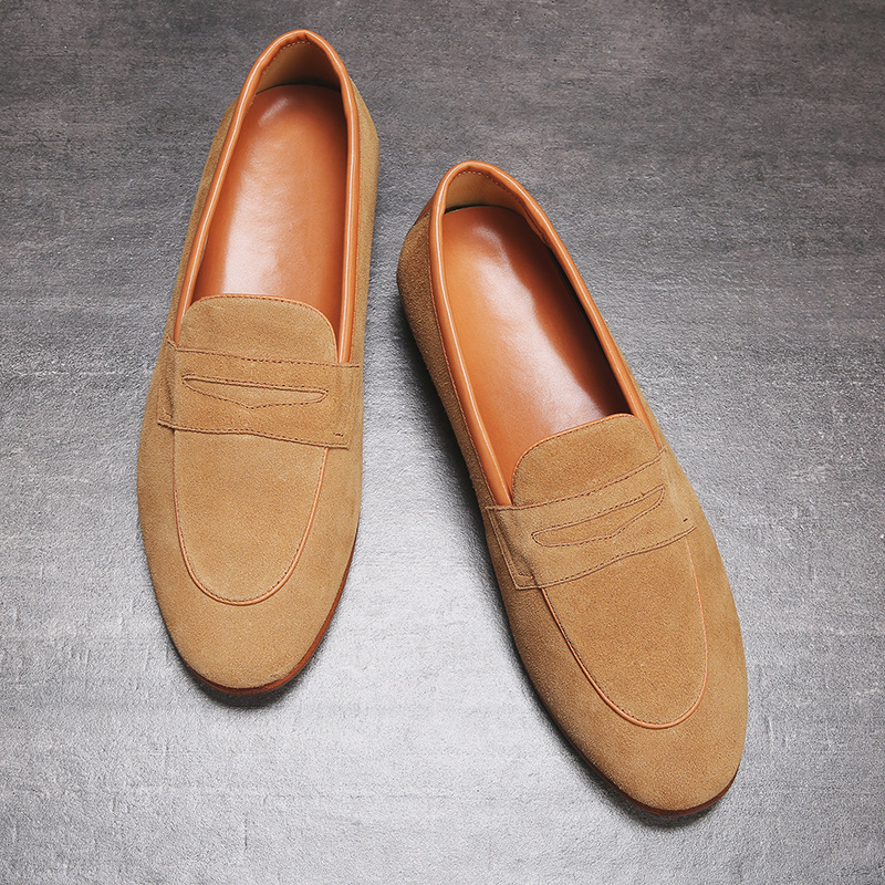 Mens Casual Brands Slip On Suede Shoes Men Loafers Moccasins Genuine Leather Driving Sneakers Zapatillas Hombre