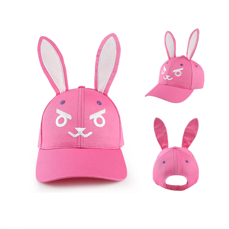 Winjfo 2017 Pink D.va Rabbit Baseball Caps With Two Big Ear Kawaii Lovely Rabbit Hat Dva Embriodery Adjustable Caps Hana Song 2017 new fashionable cute soft black grey pink beige solid color rabbit ears bow knot turban hat hijab caps women gifts