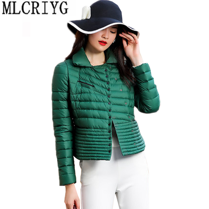 MLCRIYG New Brand 2019 Winter Duck Down Jacket Women Short Slim Down Coat Long Sleeve Warm Parka Female Casual Jackets Tops LX50