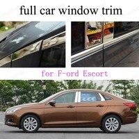 Estilo do carro janela completa guarnição para f-ord escort decoração tira exterior acessórios de aço inoxidável
