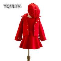 Child Clothing 2018 New Spring Autumn Girl Suit Hat + Jacket + Princess Dress 3 Pcs Set Kids Clothes Casual Cute Girl Suit W232