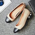 2017 Spring New Design Black Apricot Cowhide Round Toe Medium Thick Heels Women Party Shoes With Pearls European Style Hot Sale