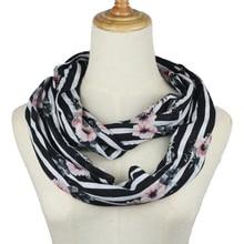 Women chiffon infinity scarves Ring Scarf Floral lightweight Loop Neckerchief Echarpe Foulard Summer Autumn spring