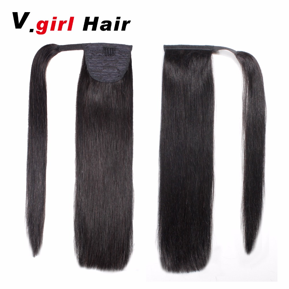 Machine Made Malaysia Hair Human Hair Ponytail 100gClip In Human Hair Extensions Straight Ponytail Extensions Remy  Ponytails#1B