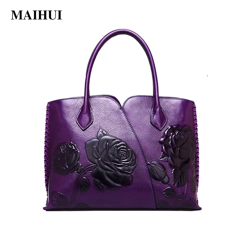 Maihui Elegant Women leather handbags 2018 new real genuine leather ladies shoulder bag chinese style floral embossed tote bag classic black leather tote handbags embossed pu leather women bags shoulder handbags elegant
