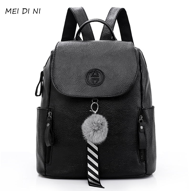 MEI DI NI 2018 Fashion Gold Leather Backpack Women Black Vintage Large Bag For Female Teenage Girls School Bag Solid Backpacks fashion gold leather backpack women black vintage large bag for female teenage girls school bag solid backpacks mochila xa56h