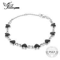 JewelryPalace 1.3ct Oryginalne Spinel Miłość Serca Kostki Bransoletki Dla Kobiet 925 Sterling Silver Fine Jewelry Romantyczny Prezent Na Boże Narodzenie
