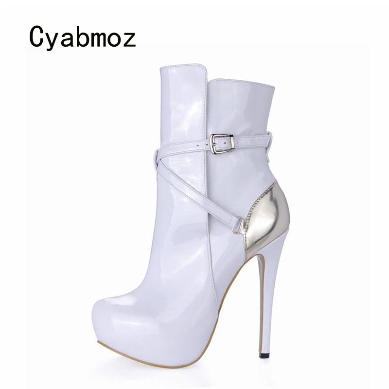 Фото Cyabmoz Women Winter Boots Shoes Woman Zapatillas Botas Zapatos Mujer High Heels Ankle Buckle Platform Womens Ladies Party Shoes