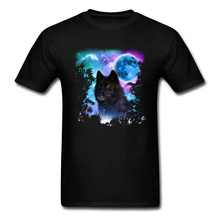 Black Wolf MidNight Forest Bloodmoon Man Tops & Tees Autumn Winter T-Shirts Chirstmas Halloween Street T Shirt Custom Tops street t shirt if it shifts it drifts man t shirt 2019 new arrival male clothing racer black tops tees custom 100