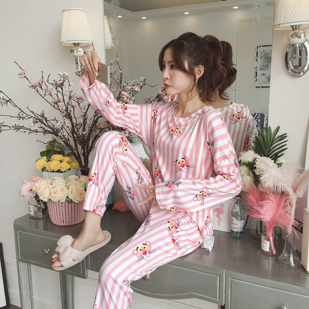New Women Pajamas Sets 100% Cotton Nightwear Spring Autumn Long Sleeve Pyjamas O-Neck Sleepwear Female Pijamas Mujer Home Wear