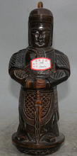 JP S0524 11″ Old Chinese ox horn Stand Warrior God Knight Skanda Veda Weituo knife Statue B0403