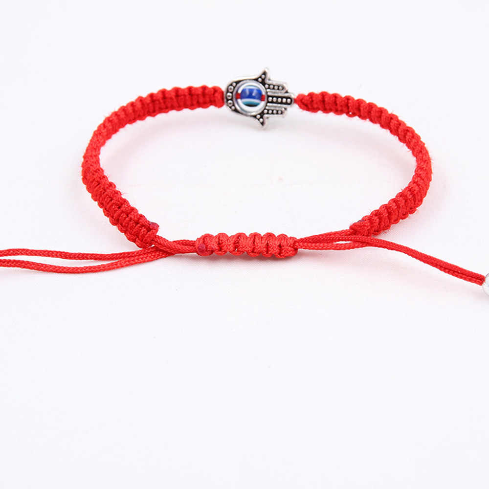 d8bdfeab49eb ... Suerte de la Cábala rojo cadena hilo Hamsa pulseras azul turco mal de  ojo encanto mujeres ...
