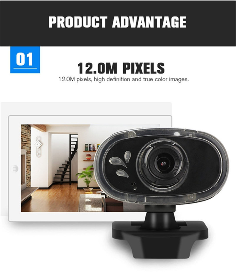 Basix 360 Degree Rotation USB Webcam HD Web Camera3