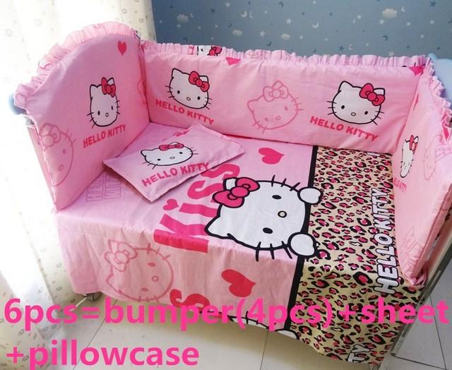 Promoción! 6 unids Hello Kitty cuna lecho para muchacha muchachos de la historieta cama de bebé recién nacido, incluyen ( bumpers + hojas + almohada cubre )