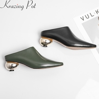 2019 big size cow leather strange style med heel slip on women pumps square toe slingback sweet brand casual spring shoes L02
