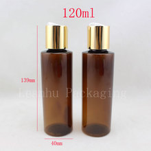 120ml round brown plastic toner bottles with gold screw caps ,120cc empty amber essential oils cosmetic packaging shampoo 4oz