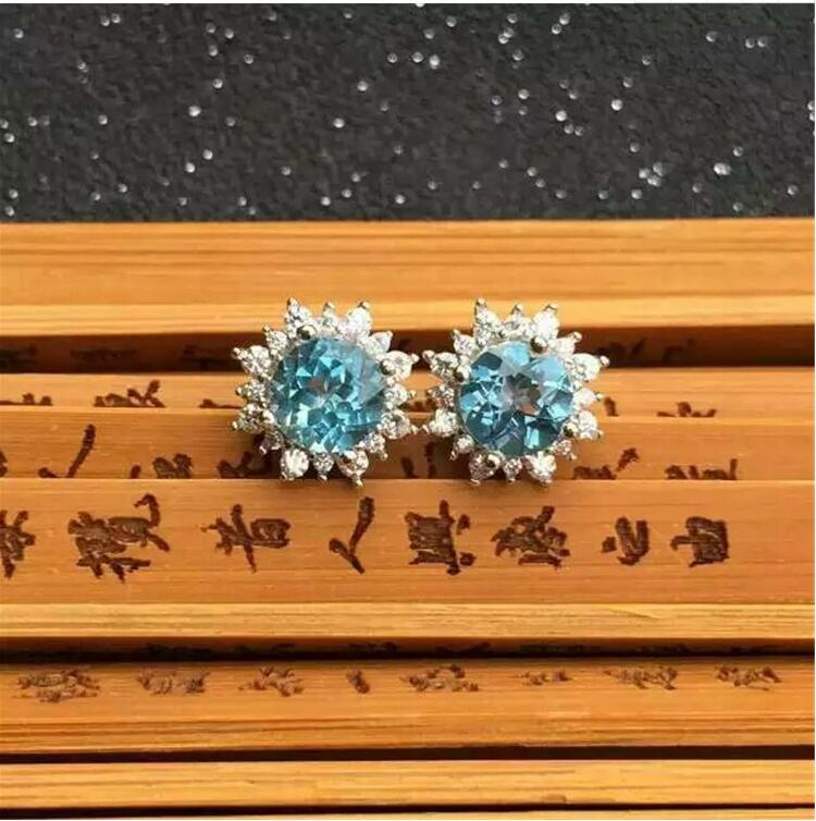 Natural Blue topaz earring Free shipping Natural real Blue topaz 925 sterling silver 6mm natural blue topaz earring free shipping natural real blue topaz 925 sterling silver 6 8mm
