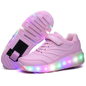 e85730956 2018 moda Rosa USB carga Led zapatos de niños con luz para arriba los  cabritos ocasionales y las muchachas Luminous zapatillas brillantes zapatos  gancho y ...
