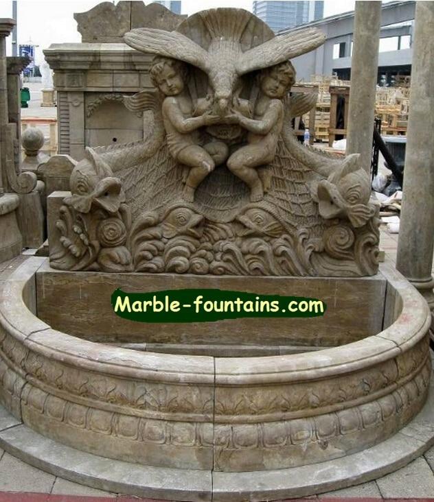Outdoor fountain wall garden stone water features design