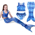 Anime Wave pattern New Girls Kids Mermaid Tail Swimming Bikini Set Swimwear Swimsuit Swim Cosplay Costume