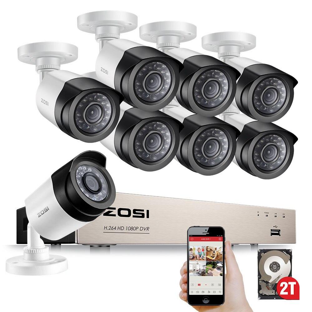 ZOSI HD 8CH 1080 P 2.0MP камер безопасности Системы 8*1080 P открытый Ночное Видение видеонаблюдения Системы 2 ТБ HDD