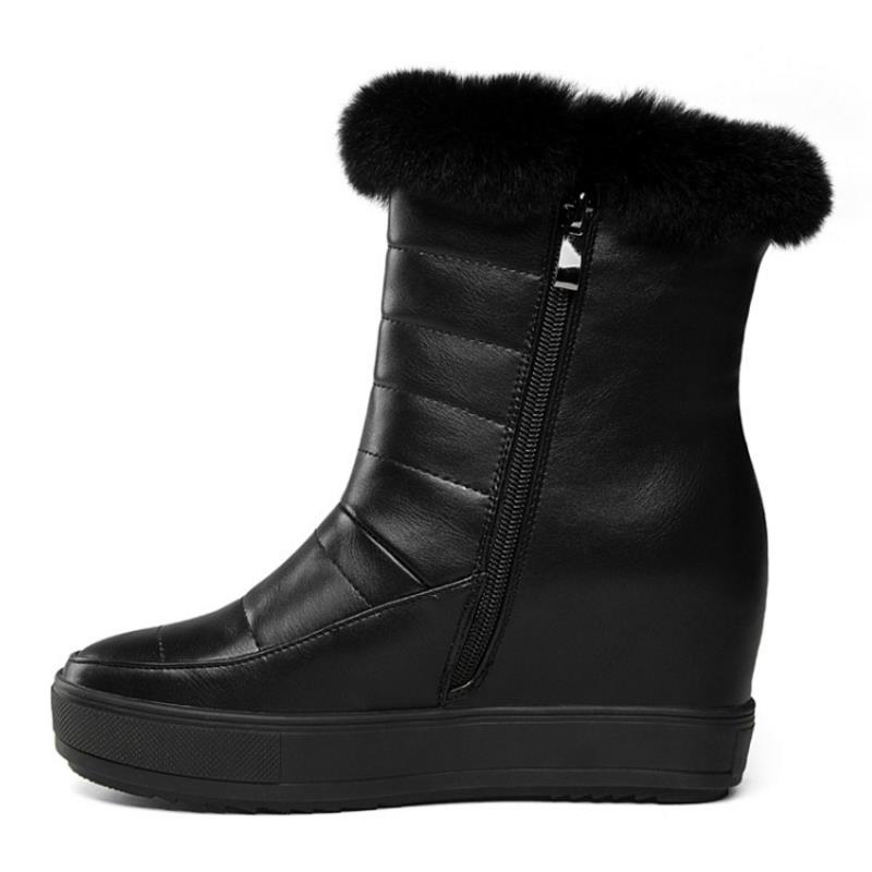 MISAKINSA Women Inside Heel Snow Boots Plush Fur Shoes Women Cold Winter Boots Warm Wedges Botas Sexy Women Footwears Size 34-40