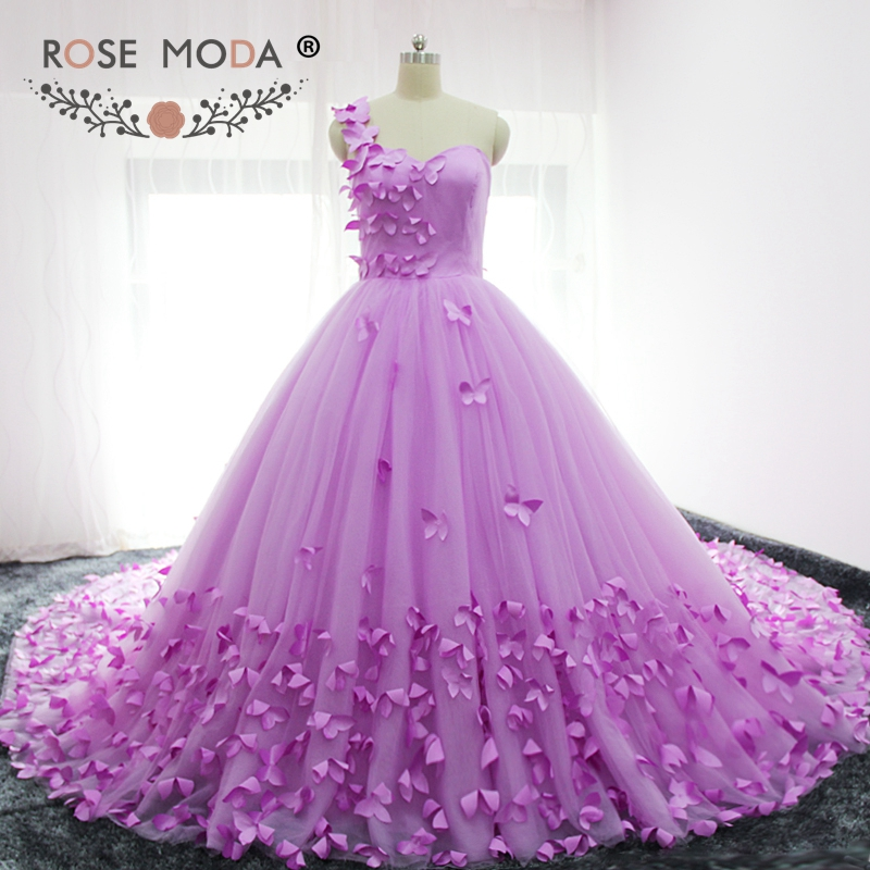 Rose Moda Luxury One Shoulder Butterfly Wedding Ball Gown