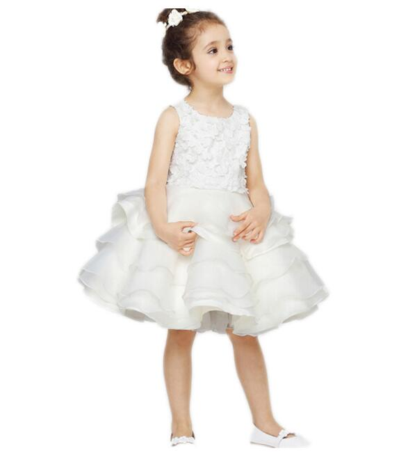 Girls Wedding Formal Dresses 2018 Sleeveless Birthday Tiered Tutu Dress Flowers Girls Princess Dress Kids Party Dresses White cute girls fashion dress summer kid girls sleeveless belt flowers tutu princess party dresses ball gown kids dresses