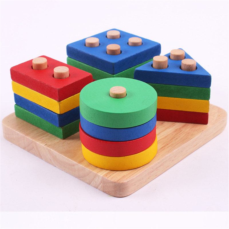 Cheap Wooden Column Shapes Stacking Toys Preschool Educational Geometric Board Blocks Building Blocks Safe Baby Funny Toy Gift new wooden toys fight inserted blocks snowflake ornament inserted stella wooden blocks gift baby educational toy free shipping