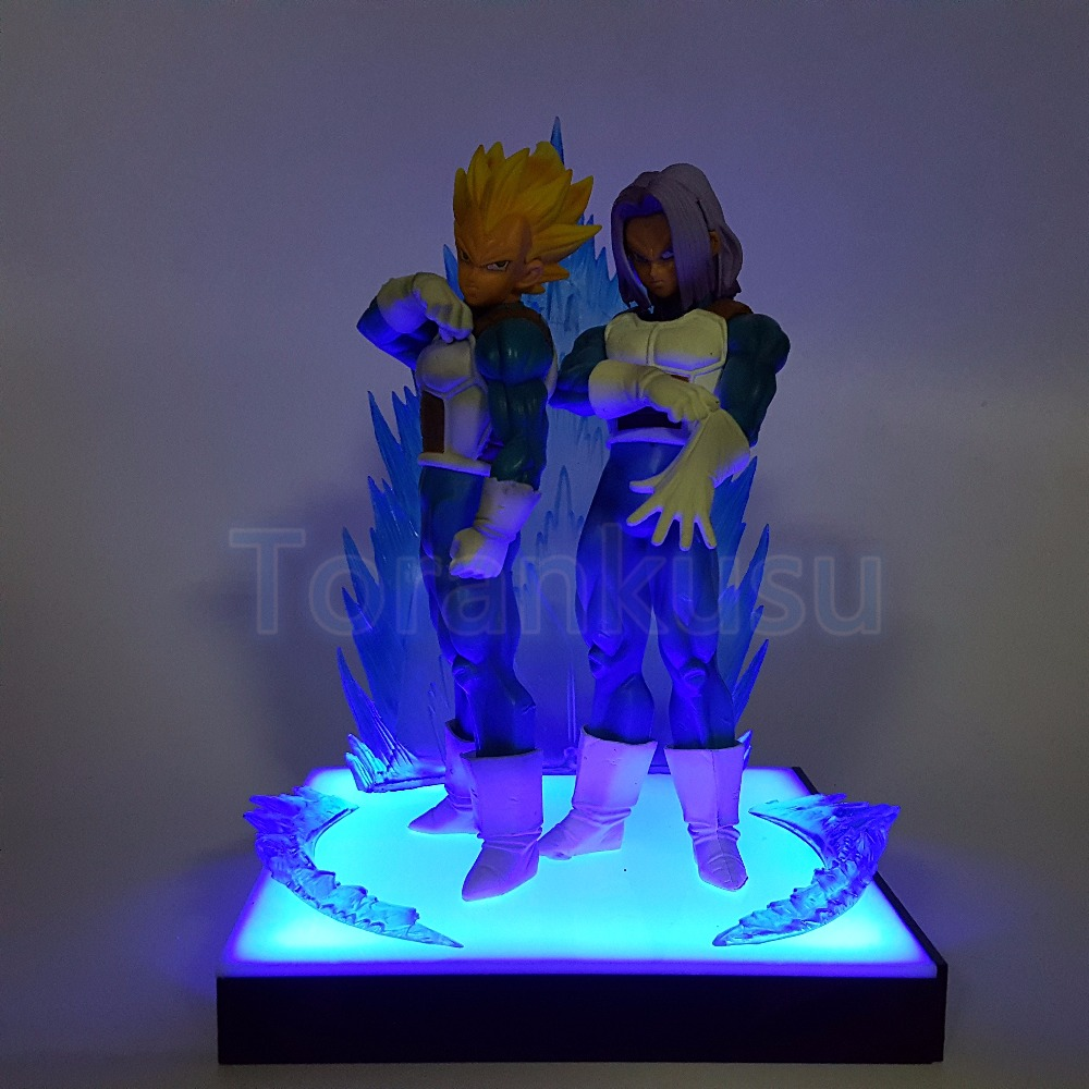 Dragon Ball Z Action Figure Vegeta Trunks ROS Father Son LED Base DIY Display Toy Super Saiyan Collectible Model Doll DIY140