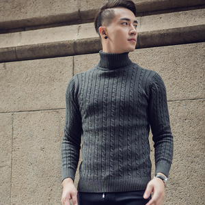 Image 5 - 2020 Fall Winter Thick Warm Cashmere Sweater Men Turtleneck Men Brand Mens Sweaters Slim Fit Pullover Men Knitwear Double collar