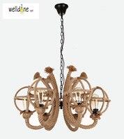 Американская деревенская винтажная Подвесная лампа пеньковая веревка ручной работы креативная Лофт бар кофейня железная висячая лампа