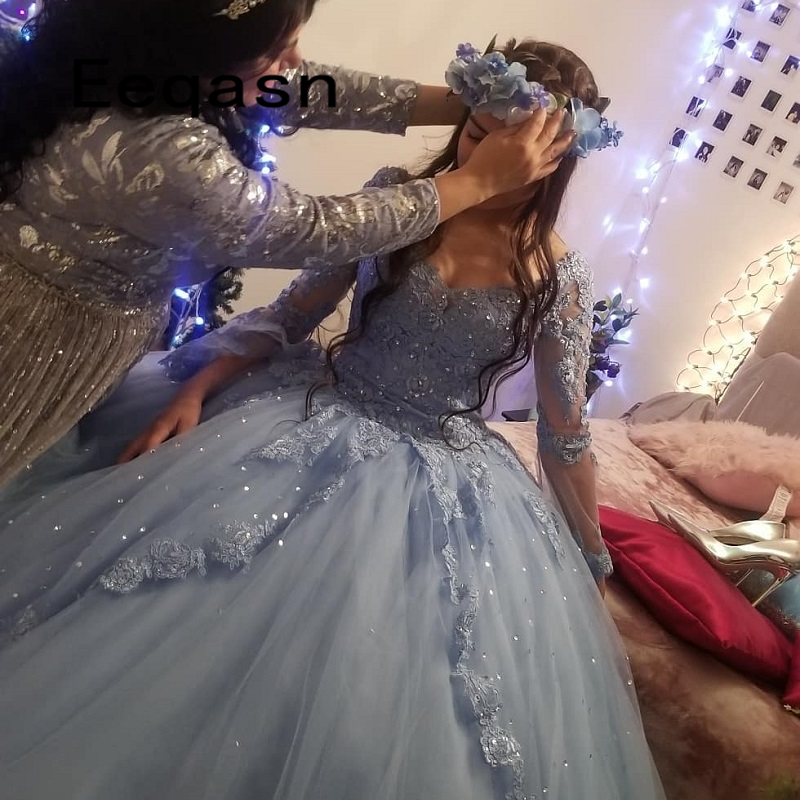 Charming Quinceanera Dresses Ball Gown Long Sleeve Lace Tulle Prom Debutante Sixteen 15 Sweet 16 Dress Vestidos De 15 Anos(China)