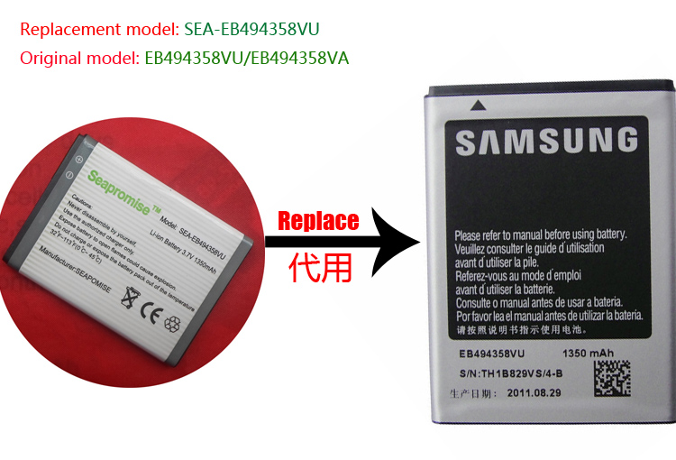 Retail EB494358VU battery for SAMSUNG Galaxy Ace S5830,B7510,B7800,<font><b>S5660</b></font>, <font><b>GT</b></font>-S5670,S5830,<font><b>GT</b></font>-S5838,SCH-i579 image