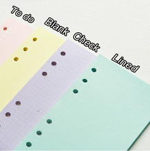 A5 a6 Dookibook Filofax Colorful Solid Color Spiral Paper Refills 40 sheets Lilac/Pink/Yellow/Mint