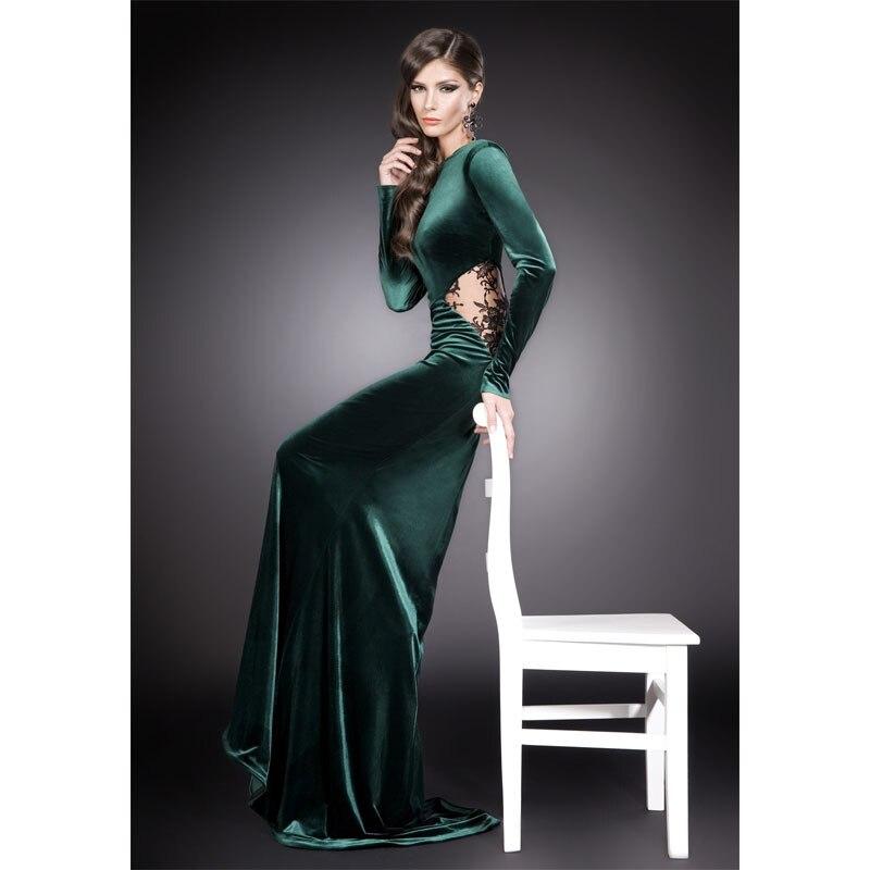 2015 Mermaid Long Sleeves Prom Dresses Lace Keyhole Dark Green ...