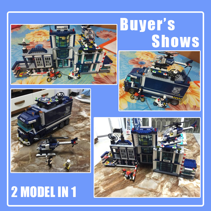 Image 4 - 951pcs City Police 60141 Mobile Police Station Building Blocks Brick SWAT City Truck Car Ship Helicopter Legoness Model Toy Gift-in Blocks from Toys & Hobbies