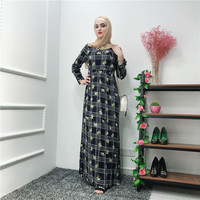 New Women's Dress Printed Chiffon Waist Long Dress Fashion Middle Eastern Muslim Dress Muslim Turkish National Robes Dress
