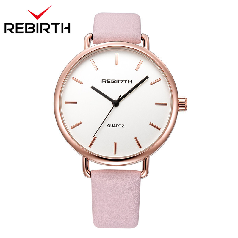 REBIRTH New Relojes De Mujer Women Watches Top Brand Luxury Bracelet Quartz Clock Female Leather Strap Casual Ladies Watches new design square women watches rebirth popular brand fashion casual ladies watch quartz clock grey wristwatches reloj mujer