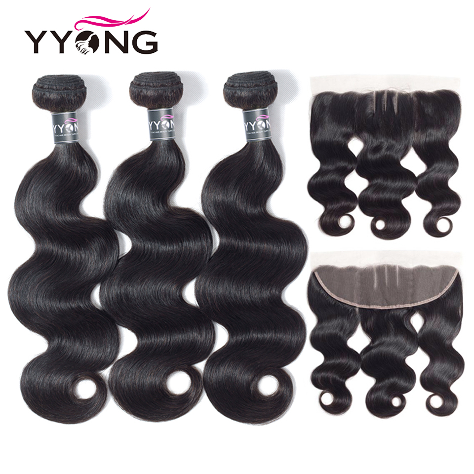 Yyong Hair Extension Peruvian Hair Bundles With Frontal Body Wave Human Hair Bundles 3 Bundels With Lace Frontal Remy Hair