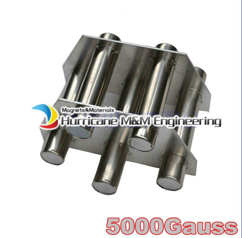 NdFeB магнитная палочка пластина 5 pc фильтр 5 K Gauss сильный неодимовый магнит из нержавеющей стали 304 кронштейн санитарный класс магнит для удал