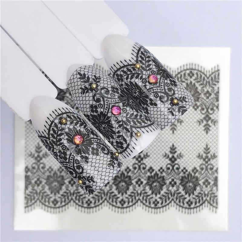 1 Sheet White Black Nail Stickers Water Transfer Decals Lace Flowers Butterfly Slider for Nail Art Decoration Manicure