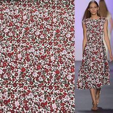 Red mini floral cetak 100% sutra Crepe DE chine kain 17 momme ketebalan, SCDC794(China)