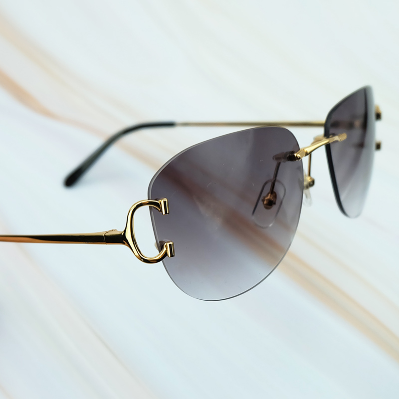 6343dd9d8 Hot Sale Metal Rimless Sunglasses Luxury Brand Name Carter Men Sunglasses  High Quality Retro Designer Driving Women Eye Shade