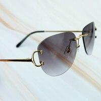 Hot Sale Metal Rimless Sunglasses Luxury Brand Name Carter Men Sunglasses High Quality Retro Designer Driving Women Eye Shade