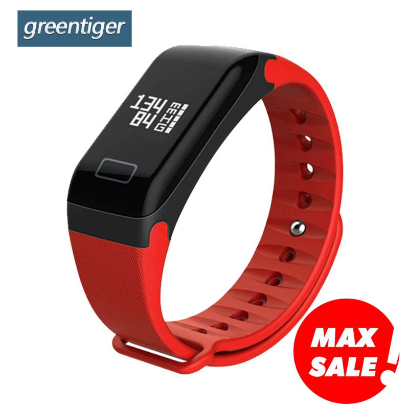Greentiger F1 pulsera inteligente Monitor de ritmo cardíaco sangre presión banda inteligente salud Fitness pulsera inteligente para Android iOS