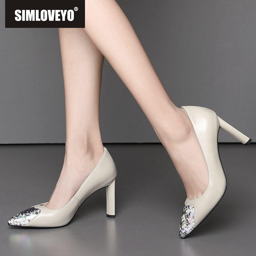 Simloveyo 정품 가죽 하이힐 펌프스 신발 여성 스네이크 지적 발가락 발 뒤꿈치 암소 가죽 여성 파티 웨딩 펌프 베이지 블랙-에서여성용 펌프부터 신발 의  그룹 1