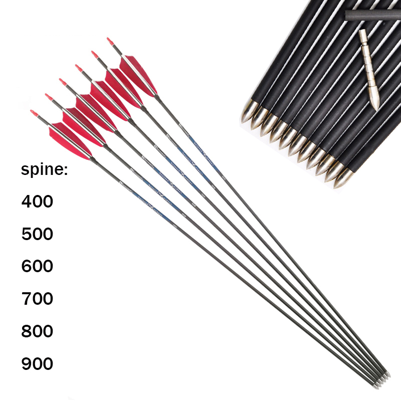 12Pcs 30 ID4 2mm Carbon Arrows archery 4Inch Turkey Feather 80gr Point Tips for Recurve compound